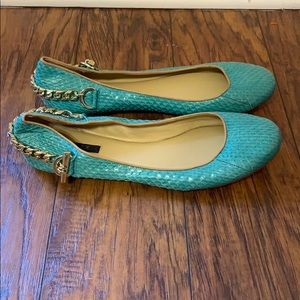 Rachel Zoe Shoes - Rachel Zoe Gold Chain Ballet Flats Snakeskin 8.5